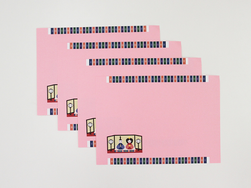 ひな祭りの画用紙ランチョンマット完成