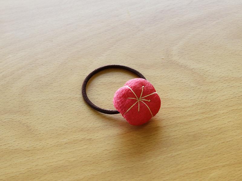 づくり/ちりめんの和菓子風ヘアゴム